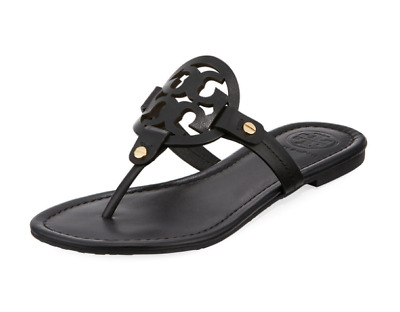 e2f9ee455 Tory Burch NEW Miller Black Leather Flat Sandals Double T Logo Runs Small   198 • 179.00