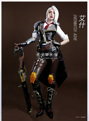 AU185.09 • Buy Game Overwatch OW Ashe Full Suit Outfit+Shoes Cosplay Costume Uniform Unisex Hot