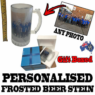 AU26.95 • Buy PERSONALISED CUSTOM GLASS BEER STEIN - GIFT BOXED - Birthday Present For Him Her