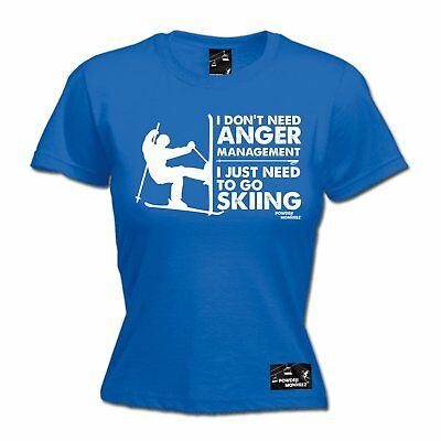 AU18.64 • Buy Anger Management Skiing WOMENS Powder Monkeez T-SHIRT Mothers Day Apres Skiing