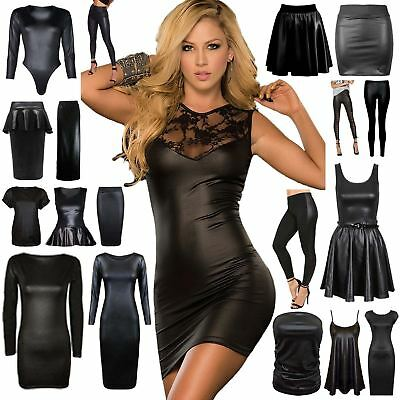 New Womens Wet Look Pvc Leather Bodycon Dress Mini Skirt Top Leggings Plus Size • 4.35£
