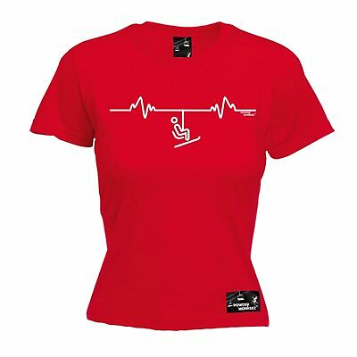 AU18.64 • Buy SKI LIFT PULSE WOMENS T-SHIRT Tee Heartbeat Skiing Gear Funny Mothers Day Gift