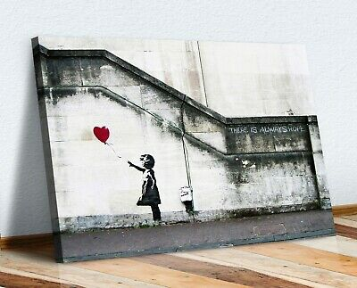 Canvas Wall Art Banksy Balloon Girl Graffiti 30mm Deep Framed Print Xl Options • 12.99£