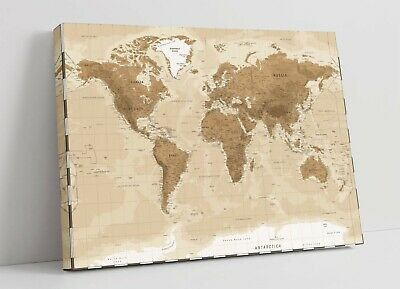 Vintage World Map CANVAS WALL ART  ARTWORK 30MM DEEP FRAMED PRINT • 33.99£