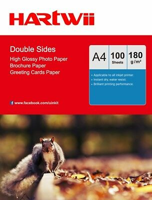 £11.99 • Buy A4 180Gsm Double Sided Inkjet Pape Photo Paper High Glossy  - 100 Sheets Hartwii