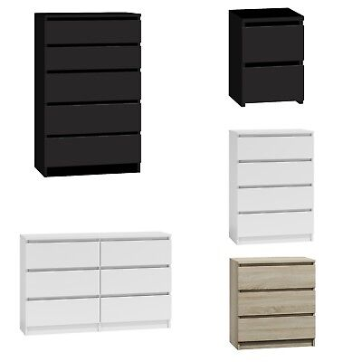 Chest Of Drawers White|Black|Oak Bedroom Furniture Tall Wide Storage 3|4|5|6Draw • 94£