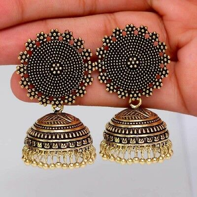 AU10.33 • Buy Indian Oxidized Fashion Jewelry Gold Designer Traditional Jhumka Earrings Set
