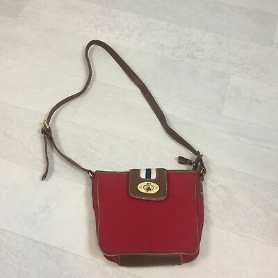 95590dbc2c CHAPS Ralph Lauren Red Brown Purse Crossbody Crossover Bag Canvas Leather •  21.49