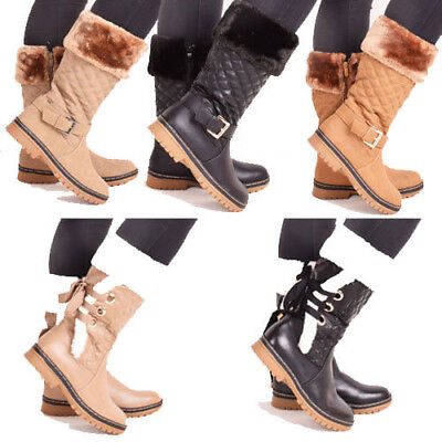 Ladies Womens Winter Fur Quilted Buckle Grip Sole Snow Dog Walking Boots Shoes • 12.95£
