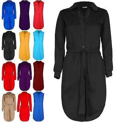 Ladies Womens Belted Button Down Long Sleeve Oversized Collared Mini Shirt Dress • 9.99£