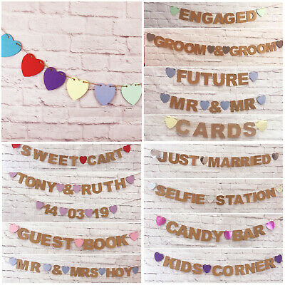 Wedding Bunting Banners Card Photo Prop - Wedding Decoration PERSONALISED Mr&Mrs • 4.89£