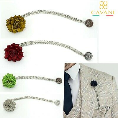 Mens Cavani Flower Tassel Layer Chain Suit Lapel Pin Wedding Red Gold Corsage  • 6.99£