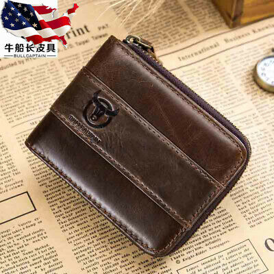 $17.99 • Buy RFID BULLCAPTAIN Mens Real Leather Zipper Around Card Slots Coin Wallet Purse US