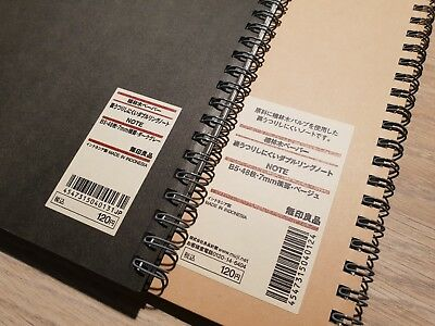 AU11.95 • Buy MUJI Plantation Paper Double Ring Note B5 7mm Beige Black Japan Notebook