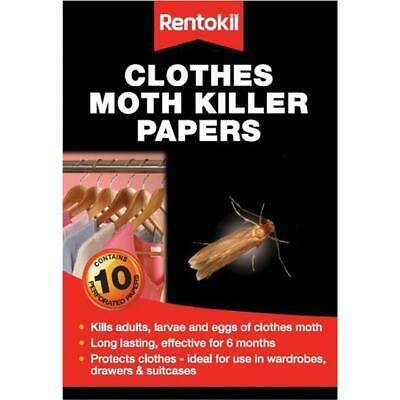 Rentokil Clothes Moth Killer Papers 10 Strips/ Kills Adults, Larvae And Eggs • 6.95£