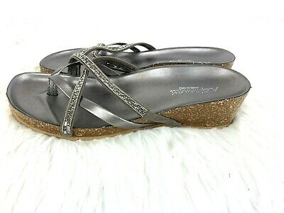 40f60ec1af21 A Giannetti Sandals Size 9 Silver Rhinestone Wedge Womens Shoes Sparkle  Italy • 19.99