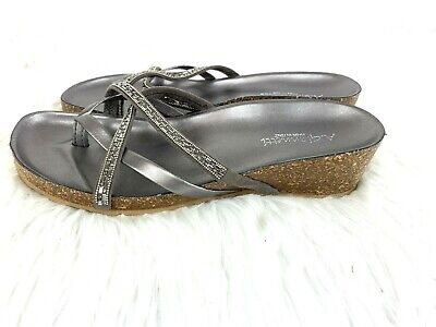 4e0082e78e40 A Giannetti Sandals Size 9 Silver Rhinestone Wedge Womens Shoes Sparkle  Italy • 19.99