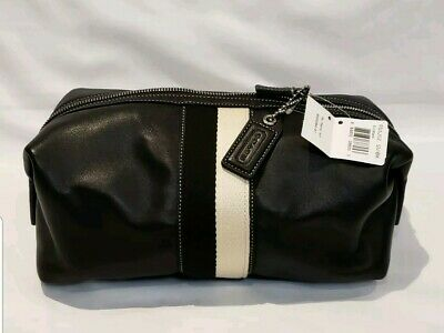 af27dd34a6bc Men s COACH Black Leather Dopp Travel Shave Toiletry Bag New With Tags Rare  • 89.95