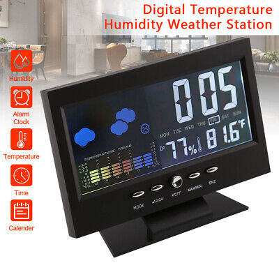 Projection LCD Display Digital Alarm Clock LED With Temperature Weather Station • 6.99£