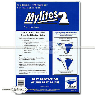 $21.85 • Buy 50 - Mylites 2 Super Gold 2-Mil Mylar Comic Book Bags By E. Gerber - 825M2
