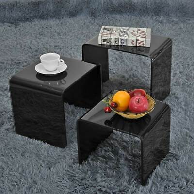 NEW MILAN SET OF 3 BENT GLASS NEST OF SIDE TABLES COFFEE SET CURVED Black/Clear • 63.99£