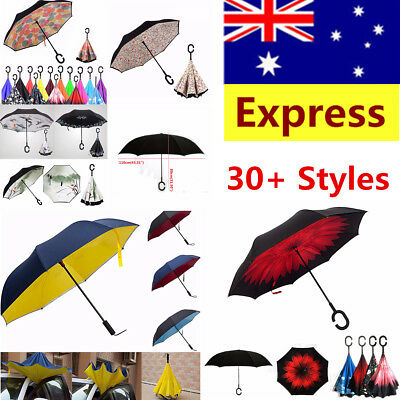 AU10.99 • Buy Windproof Double Layer Umbrella Upside Down Inverted Reverse C-Handle Inside-Out