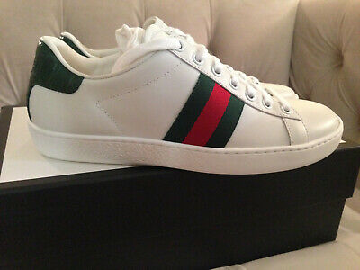 ef5fc6f7e25 New Gucci Women New Ace Web Low Top Leather Sneakers White Green Sz 36 Or 37