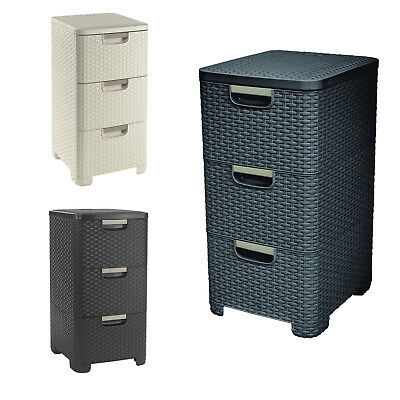 Rattan Style Plastic Storage Tower 3 Drawers Dark Brown Creamy Grey 13.5L X 3 • 46.24£
