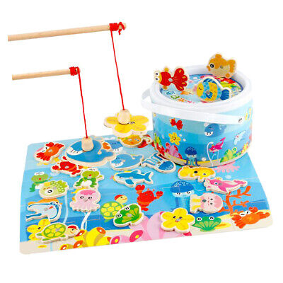 AU17.49 • Buy Toddler Wooden Magnetic Fishing Rods Game Toy For 2 3 4 5 Year Old Kids