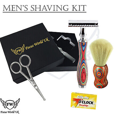 CLASSIC SHAVING SET Synthetic Brush & Safety Razor MENS GROOMING COMPLETE KIT FW • 18.49£