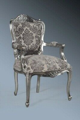 Statement Large Antique Silver Gilt Grey French Louis Throne Carver Arm Chair • 319£