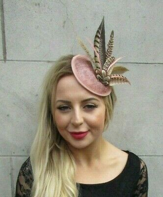 Nude Pink Brown Pheasant Feather Pillbox Hat Fascinator Hair Clip Races 7061 • 21.95£