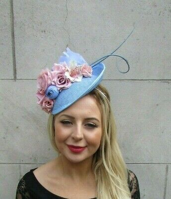 Blush Pink Light Blue Rose Feather Floral Disc Saucer Hat Fascinator Hair 7077 • 34.95£