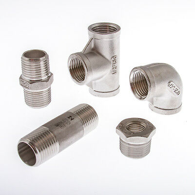 Stainless Steel (316) Pipe Fittings  BSP Threaded Sizes 1/8  To 2  • 7.50£