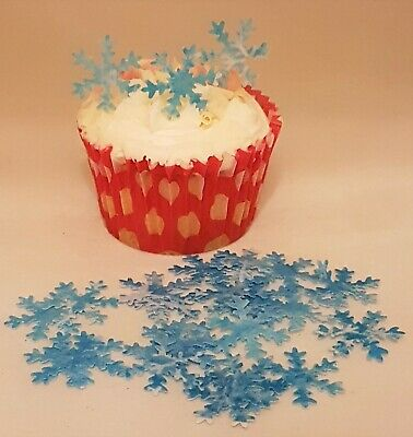 £1.65 • Buy 24 X Pre-cut Edible Snowflakes Wafer Paper Cup Cake Decorations Toppers Various