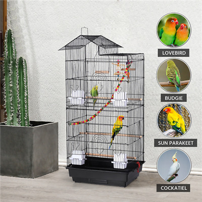 £37.99 • Buy Roof Top Large Parrot Cage Metal Bird Cage Cockatiel Budgie Cage W/Toys Black