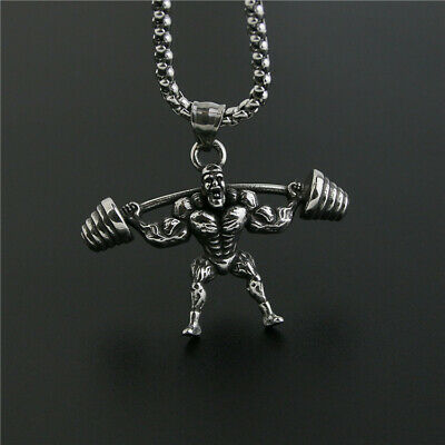 $15.99 • Buy Mens Muscle Body Builder Weight Lifting Fitness Barbell Necklace S.Steel Pendant