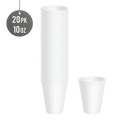 (High Quality) - Plain Polystyrene Disposable 20 Pack Foam Cups 10 Oz - (NO LID) • 4.89£