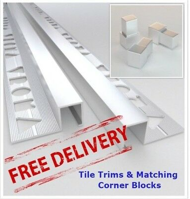 10x VROMA Tile Trims Box Shape Matt Chrome Aluminium *Matching Corner Blocks* • 59.99£