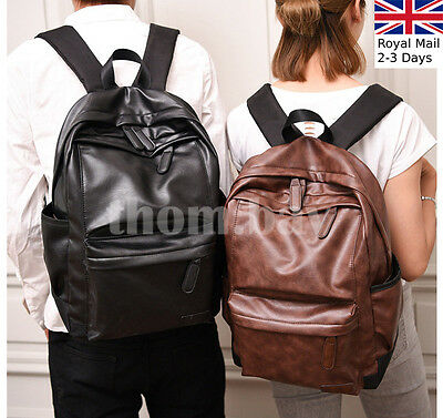 Large Unisex Men Women Leather Backpack Shoulder Bag Rucksack Satchel Travel • 11.29£