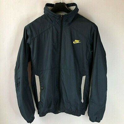 8cb899e8a2 Vintage Nike Fit Storm Windbreaker Jacket Swoosh Spellout In Gold Size L  Large • 29.99
