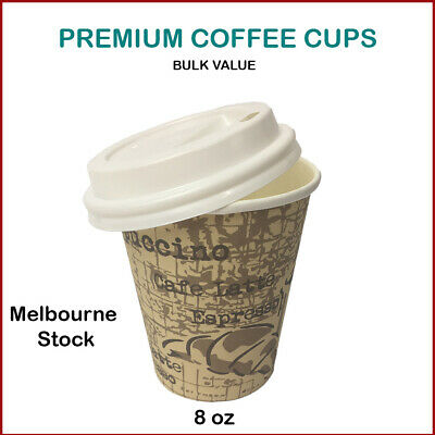 AU19.99 • Buy Disposable Coffee Cups With Lids 8Oz Paper Cups Bulk Buy High Quality-AU Stock