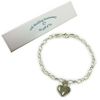 10th Anniversary Gift. Tin Heart Charm On A Sterling Silver Bracelet. Tin Gift • 29.95£