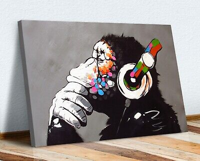 Monkey Dj Banksy Canvas Street Wall Art Print Artwork -  Gorilla • 12.99£