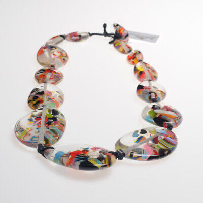 Jackie Brazil Long Flat Riverstone Necklace In Cascade N3700 • 67.99£
