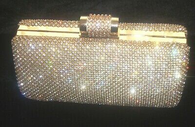 Gold Bling Crystal Diamante Diamond Evening Bag Clutch Purse Party Prom Bridal • 21.99£