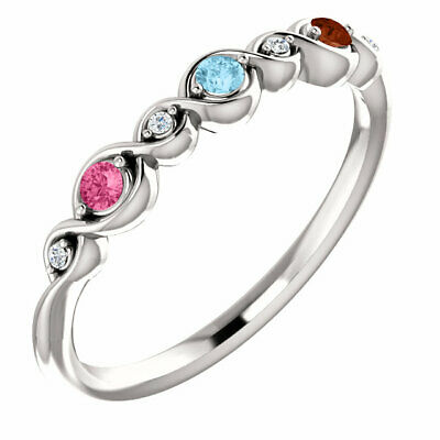 $75 • Buy Mother's Day Ring Jewelry Sterling Silver Ring 1-5 Birthstones, 2 Mm Stones