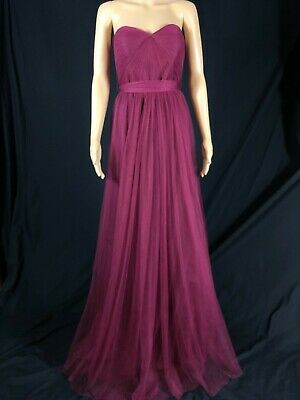 498bcb84a6c NWOT Jenny Yoo Annabelle Convertible Tulle Column Dress Cabernet Color Size  6 • 115.00