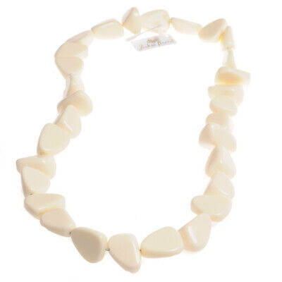 Jackie Brazil Resin Long Diamante 84cm Cream Necklace N80  • 57.99£