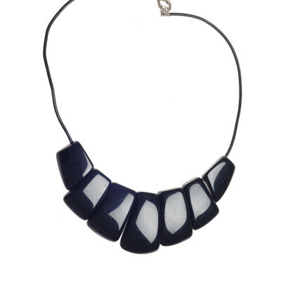 "Jackie Brazil Resin SEVEN ON LEATHER CORD""BELLA In Black Gloss Necklace N35 • 36.99£"